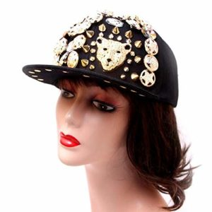 Tide Non-mainstream Hats, Male and Female, Handmade Hoe, Leopard Head, Rivet, Baseball, Hip-Hop, Flat-brimmed hat (Leopard)