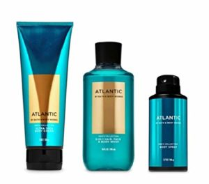 Bath and Body Works – Atlantic – Men's – 3 pc Bundle – Ultra Shea Body Cream, 2-in-1 Hair + Body Wash and Deodorizing Body Spray – (2020 Edition)