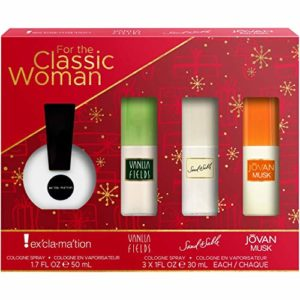 Classics Women's Coty Variety 4 Piece Set with Vanilla Fields, Sand & Sable, Exclamation and Jovan