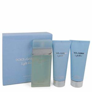 D G Light Blue Gift Set – 3.3 oz Eau De Toilette Spray + 3.3 oz Body Cream + 3.3 oz Shower Gel