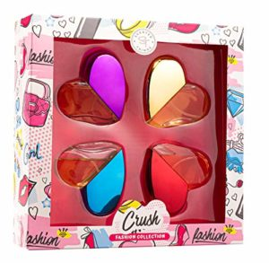 Girls Perfume Body Mist Fragrance Gift Set – Recommended for Young Girls, Tweens and Pre-Teens – 4 Heart Shape Bottles – CRUSH Fashion Collection